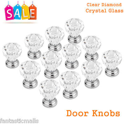 12x Clear Diamond Crystal Glass Door Knobs Drawer Wardrobe Cabinet Handles New
