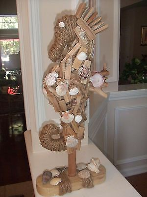"""Seahorse Statue Driftwood, Rope & Seashells on Stand 21""""T  """"Unique Beach Decor"""""""