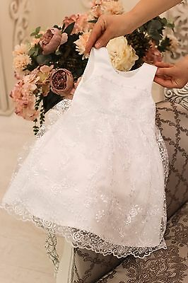 Baby Girl Christening Gown White Baptism Dress Infant Lace Party Dress Handmade