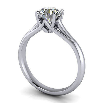 1.55CT Off White Real Moissanite Engagement Weddinng Ring 925 Sterling Silver 1