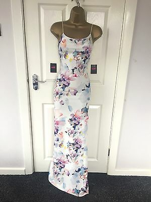 White Floral Bodycon Wiggle Stretch Party Summer Occasion Evening Maxi Dress