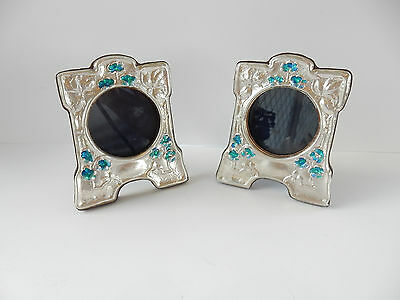 Pair Art Nouveau Sterling Silver Enamelled Floral Photograph Frames Hallmarked