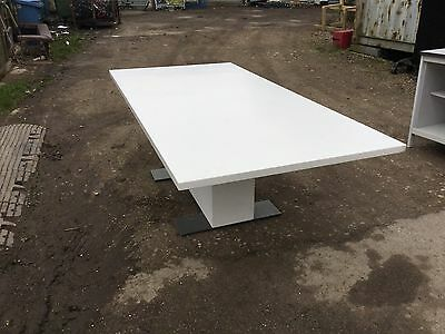 """Large White """"Corian"""" Boardroom Table  220 X 110cm"""
