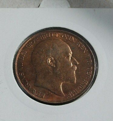 1906 Penny Edward VII bronze lustrous aUNC Difficult in higher grade.