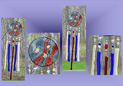 American Flag Ceramic Windchime, Stars and Stripes Glass Art, Red Blue White .2
