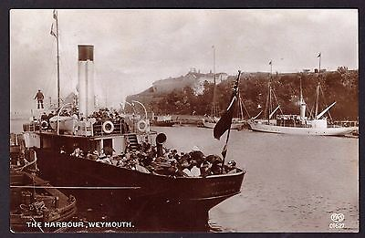 Postcard: Weymouth Harbour 1913 - Superb sepia EAS (made in Germany) used.