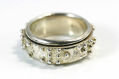 "D141 Raised dot spinner ring 12.4g Band Ring 3/8""w size 9 1/4"