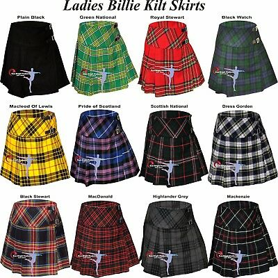 Ladies Women Tartan Pleated Billie Kilt Skirt Leather Buckled Straps