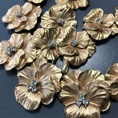 MASSIVE Vintage Heavily Gold Plated Pansy Flower Necklace with Rhinestone