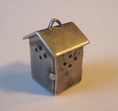 40's VINTAGE Sterling OUTHOUSE Silver Bracelet Charm OPENS TO PERSON INSIDE