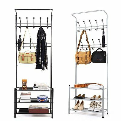 Balck Metal Hat Coat Stand Clothes Shoes Stands Steel Pipe Stands Rack Hooks  SA