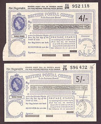 QEII: Postal Orders: 5/- & 4/- examples. Fine condition as seen.