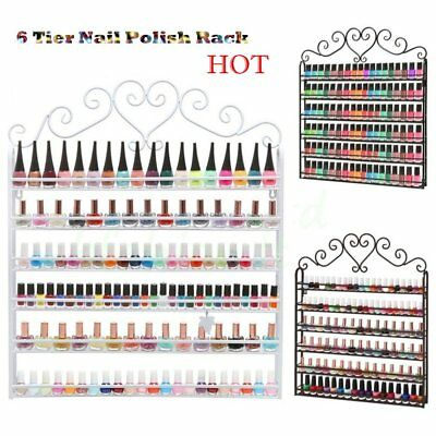 UK 6 Tier Metal Wall Mounted Nail Polish Rack Organizer Display Holder Shelf  SA