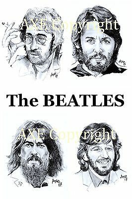 The BEATLES A4 Limited Edition ( 1/100 ) Pencil Portrait Print by AXE