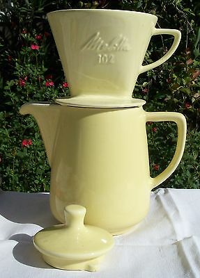 Antique French Cafetiere Melitta coffee pot Stove top Yellow Jug and filter