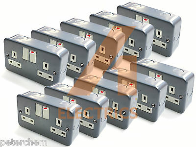 20x 13 amp metalclad double twin switched plug socket with back box metal clad