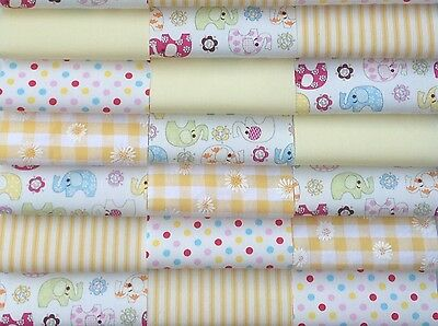 "Fabric patchwork squares 30 x 4"" (10cm) cotton quilting craft baby yellow 7Q"