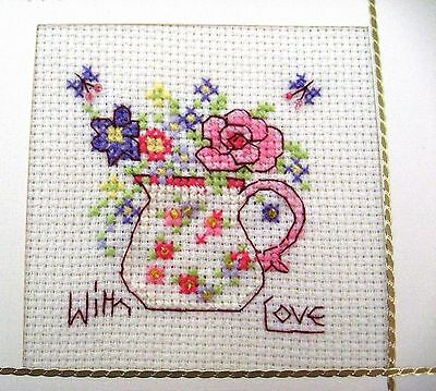 """Birthday Card Completed Cross Stitch Jug of Flowers 5.5"""" sq"""