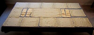 Lot 24 Beige Ivory Embroidered Table Linens 12 Placemats 11 Napkins Table Runner