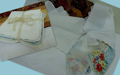 5 x Antique Vintage Handkerchief Embroidered Wedding Hanky Lace Floral Betty