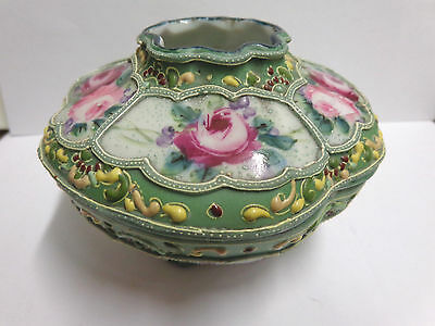 antique Nippon moriage hair receiver in green colors with pink flowers