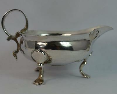 1733? Georgian Solid Silver Sauce or Gravy Boat on Three Hooved Feet & Coin Set