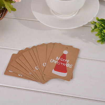 50pcs Etiquettes Tag Kraft Carte Papier Cartonné Rectangle Chapeau Noël