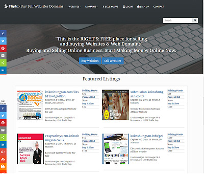 Website sell and buy marketplace Flippa clone script website for sale make money