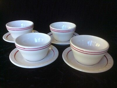 8pc set of 4 restaurant ware Syracuse red stripe chilli/soup cup saucer bowl