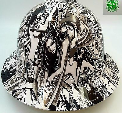 Hard Hat FULL BRIM custom hydro dipped , OSHA approved HUSTLER GIRLS NEW SUPER
