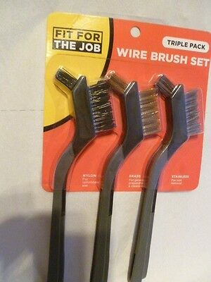 3 Pc Mini Wire Brush Set Double Head New In Pack