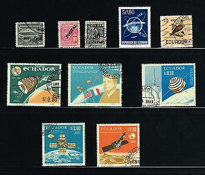 Ecuador stamps -  lot of 9 used stamps and 1 MNH - old and space theme