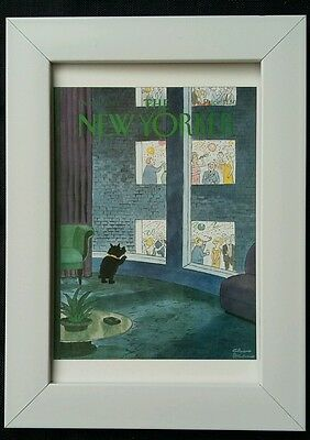 New Yorker magazine framed postcard print 6x4 NEW new year party dog