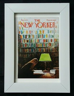 New Yorker magazine framed postcard print 6x4 NEW library books reading bookshop