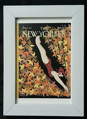 New Yorker magazine framed postcard print 6x4 NEW diving Autumn leaves