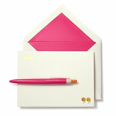 """KATE SPADE - Pen and Notecard Set - """"Yours Sincerely"""" - Graduation Gift"""