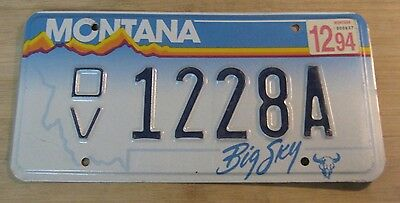1994 Montana License Plate Expired 1228 A