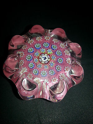 JOHN DEACONS PINK GLASS SCOTLAND MINI 50mm MILLEFIORI SIGNED CANE PAPERWEIGHT