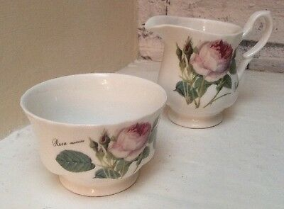 Roy Kirkham Redoute Rose Creamer And Sugar Bowl Quality Fine Bone China