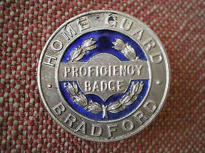 Scarce WW2 British Home Guard of Bradford Proficiency Badge by Fattorini