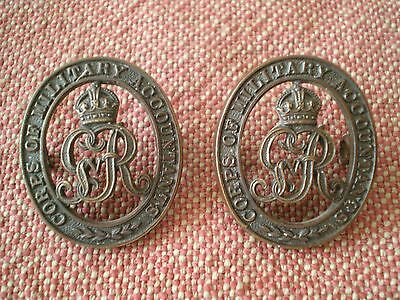 1919 to 1925 Pair of Corps of Military Accountants Officers Bronze Collar Badges
