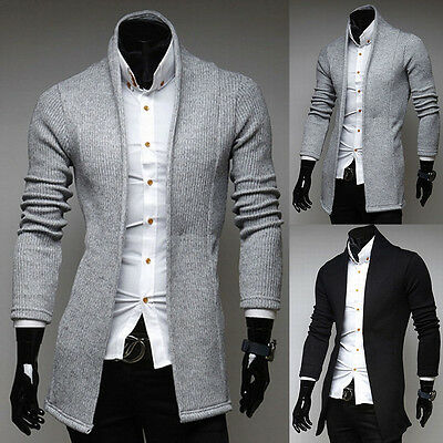 Mens Open Shawl Cardigan Turtleneck Solid Long Slim fit Sweater Jacket Coat