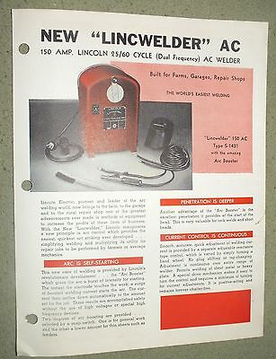 Lincoln Electric LINCWELDER AC 150 amp Brochure Cleveland Ohio Rare 1948 Welding
