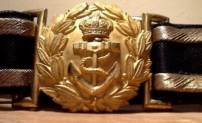 British Royal Navy (Known & Identified WW1)Sr. Officer Dress Sword Belt & Buckle