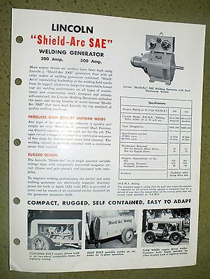 Lincoln Electric Shield Arc SAE Generator  Brochure Rare 1950 Welding