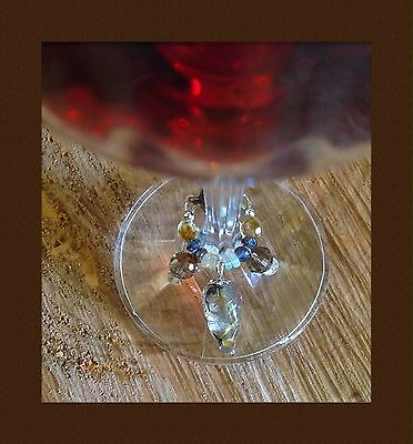Organic Natural Gems Wine Charm. Opals! Iolites! Unisex Appeal. High Quality 💎