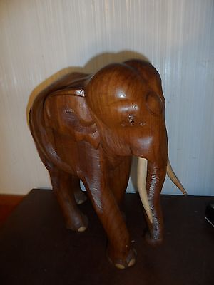 """Rare Vintage Hand Carved in Thailand Solid Teak Wood Elephant Statue 15"""" Tall"""