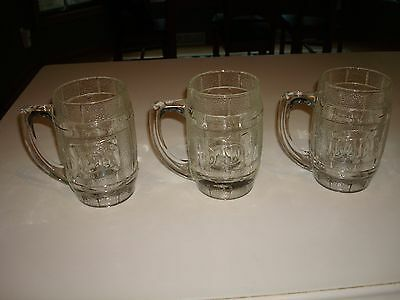 "New Old Stock Vintage Stunning DAD'S Rootbeer Glass Barrel Mugs Soda - Qty ""3"""