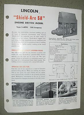Lincoln Electric Shield Arc SA 200 amps Engine Drive  Brochure Rare 1950 Welding