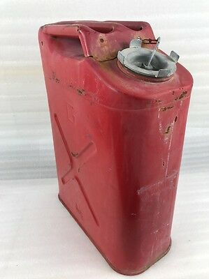 Vintage US Military Red Metal Gasoline Gas jerry Can 5 Gallon Willys Jeep Blitz
